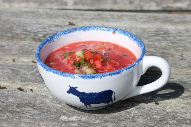 Raw gazpacho watermelon tomato soup